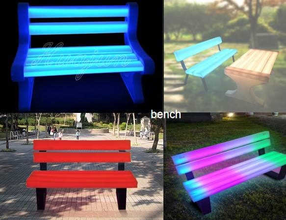 hot sales New design glowing bench ,outdoor use led garden bench and chair for garden , park .waterproof lighted chair