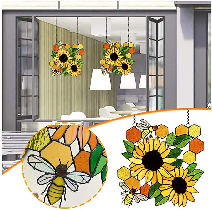 Bee Suncatcher Wall Art Bee Sunflower Sculpture Window Hanging Ornament Indoor Outdoor Bee Day Decoration