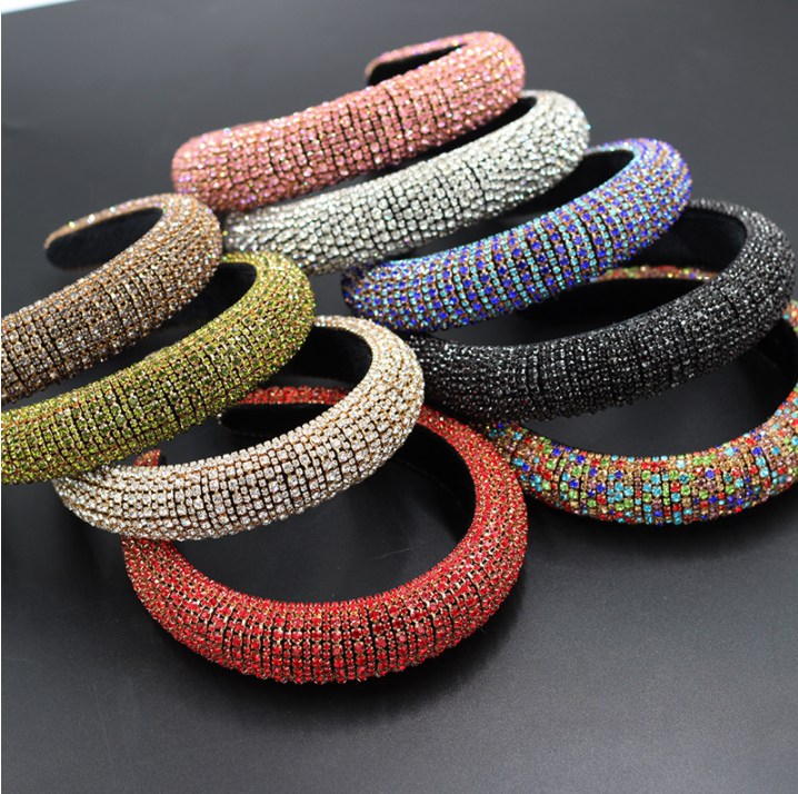 wholesale fashion european luxury women baroque multi crystal headband full colored rhinestone padded headband for women