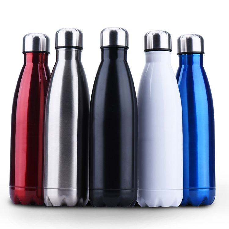 500ml oem stainless steel double wall vacuum insulated coca shaped cola slim sports water bottle