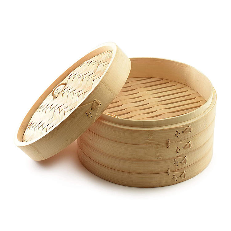 Chinese 10 Inch Mini Bambu Basket Cooker 30cm Big Dim Sum Bamboo Steamer