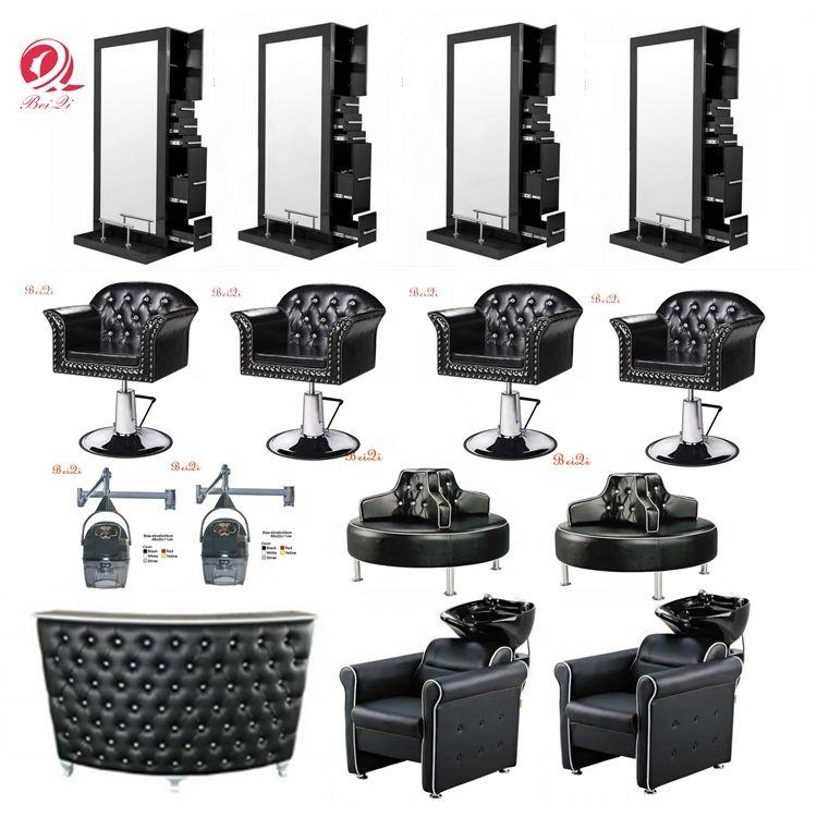 Modern hotsale luxury black barber chairs set for hair salon shop