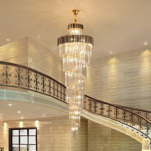 Modern luxury indoor gold large round stairwell stair lighting crystal chandeliers pendant lights for hotel lobby staircase