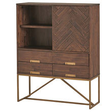 Full Hight Cabinet Opn Shelf Storage With Four Drawer Storage Unit Acacia Wooden Cabinet