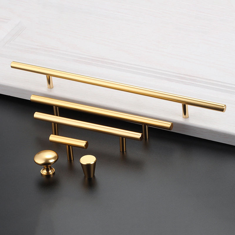 Handles New Aluminum Alloy Metal Modern Gold Brass Cupboard Wardrobe Pull Window China Drawer Kitchen Cabinet Furniture Handles