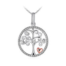 Fine Jewelry Cubic Zirconia Tree of Life Necklace 925 Sterling Silver Necklace