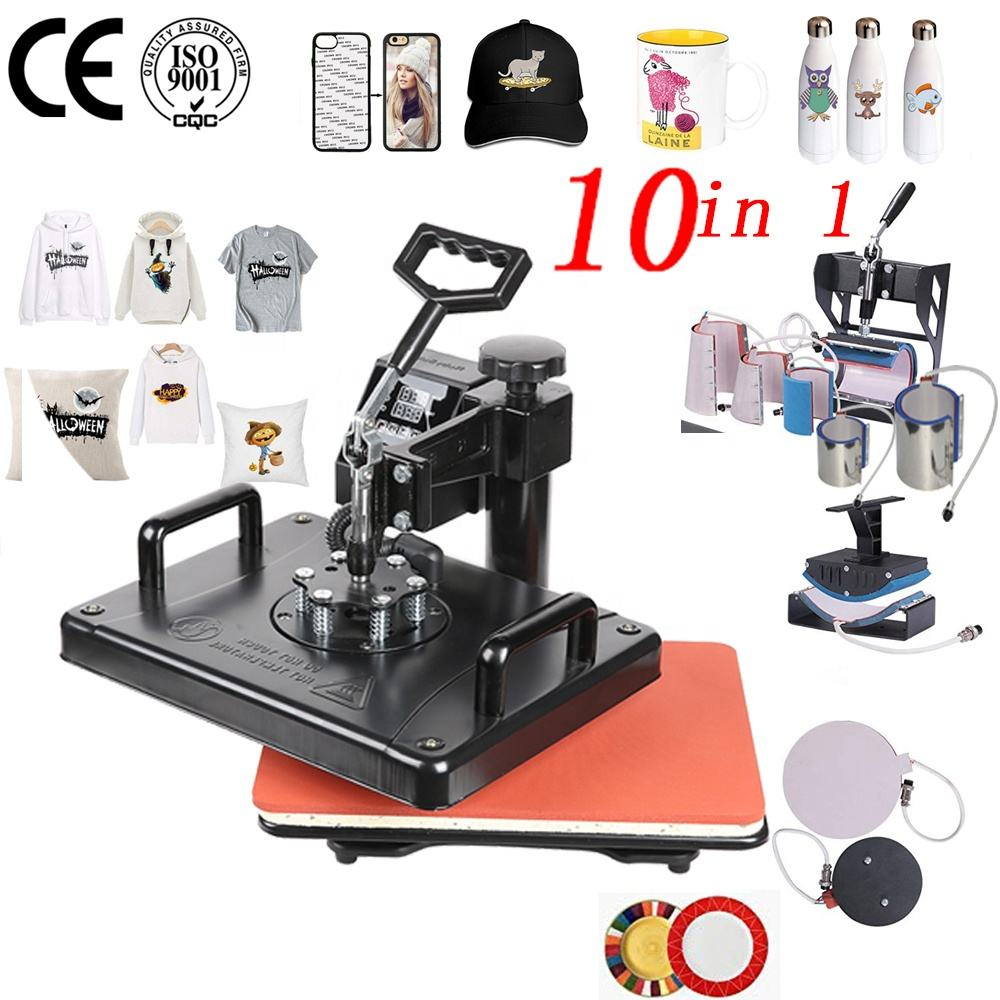 double display 30*38CM 10 in 1 Combo Sublimation Heat press Machine For T shirt/Hat/Mug/Slate Rock/MDF frame Customizing