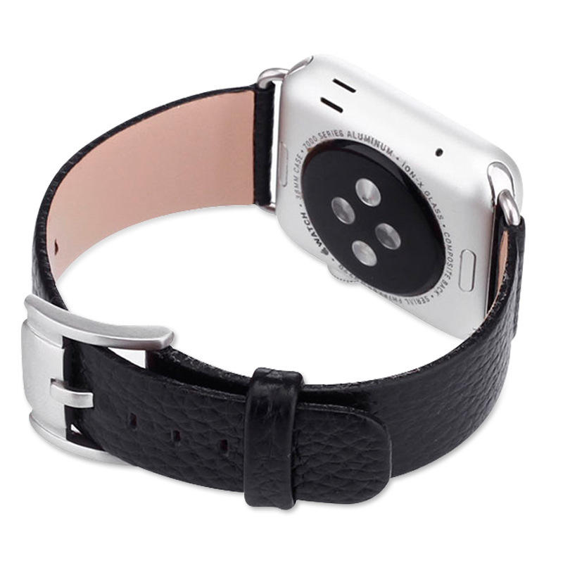 KeepWin Manufacturer Litchi Stripe 38 44mm Apple Band Wristband Belt Bracelet Buckle Genuine Leather Watch Strap
