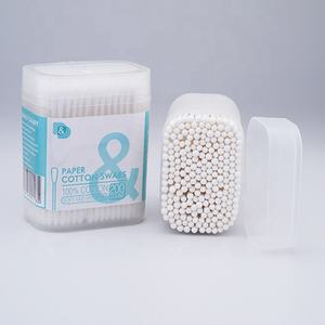 200 PCS thin paper stick cotton buds in PP square frosted box