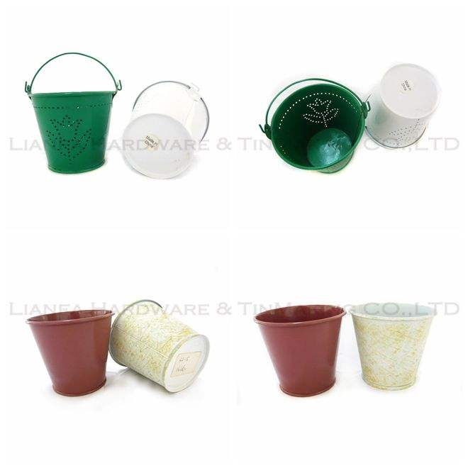 Metal Garden Bucket Mini Flower Pot
