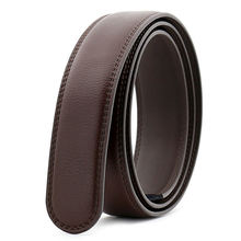 Wholesale Hot sales Brown Genuine Leather Strap Leather Ratchet  Belt Without Buckles Belt Strap