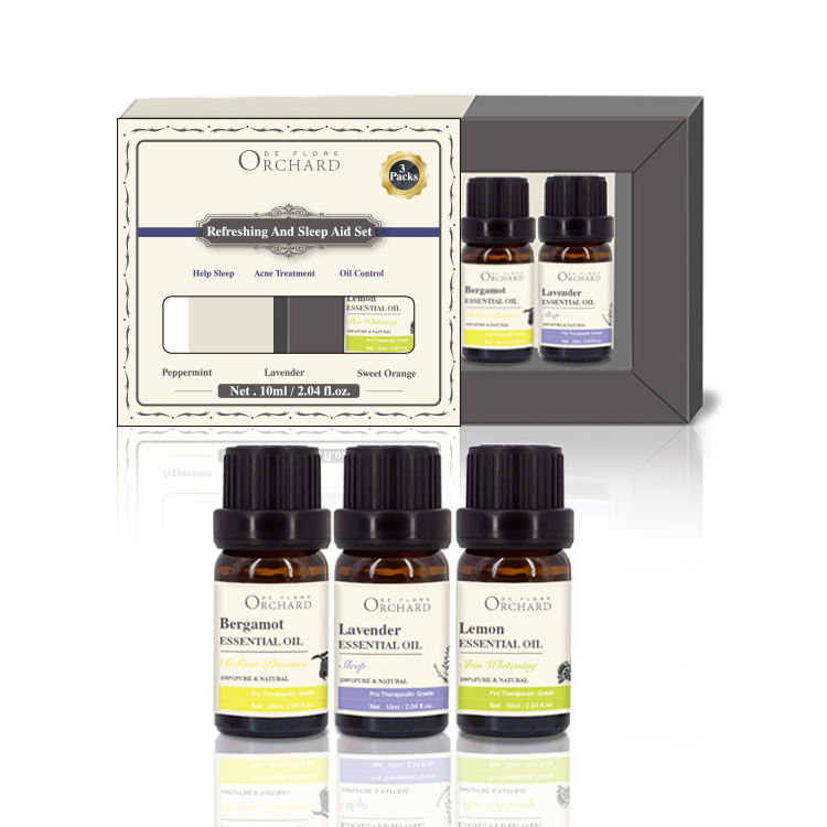 Wholesale Private Label Aromatherapy Organic Lavender Bergamot Lemon Refreshing And Sleep Aid Massage Essential Oil Set Kit