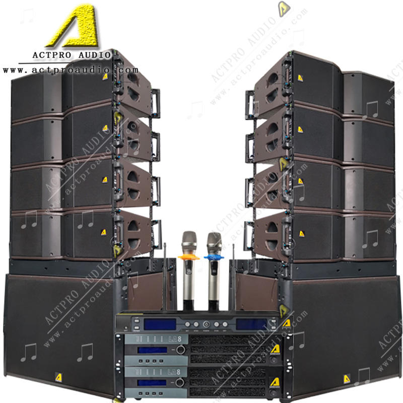 ACTPRO audio double 8 inch line array system 8 pcs KR208 2 pcs SB18 LA8 amplifier 8 inch line array set