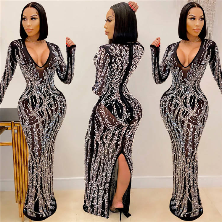 LF-333 Women der Sexy Club Dresses One Shoulder Sequin Long Maxi Dress Woman Clothing