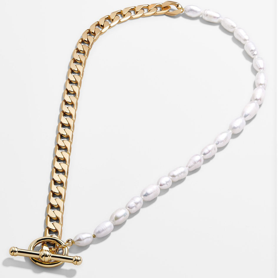 Zooying Fashion high quality metal 18K gold-plated Cuban link jewelry freshwater pearl collar necklace sexy clavicle chain