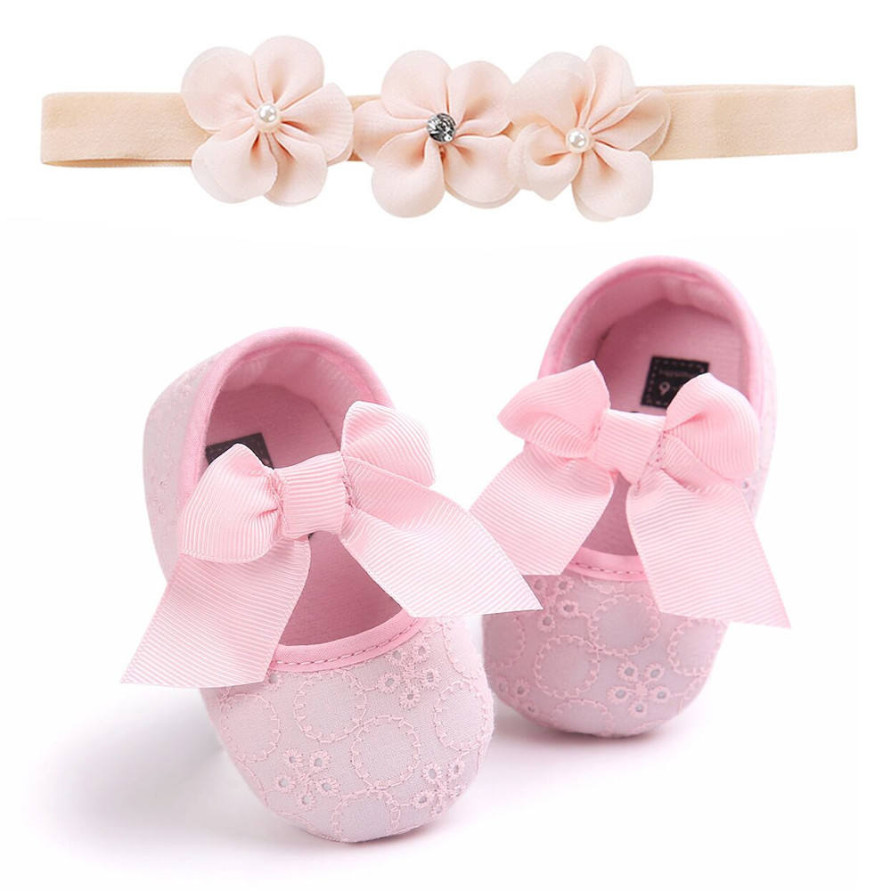 Toddler Girl Princess Soft Baby Shoes Set With Headband