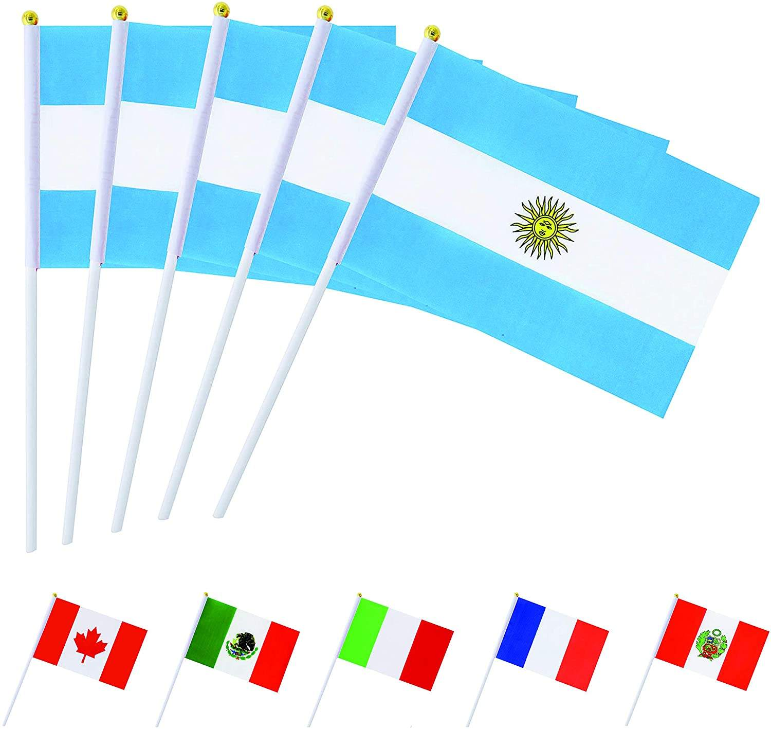 30 Pack Hand Held Kleine Argentinië Nationale Vlaggen Op Stok International World Land Stick Vlaggen Banners Argentijnse Hand Vlag