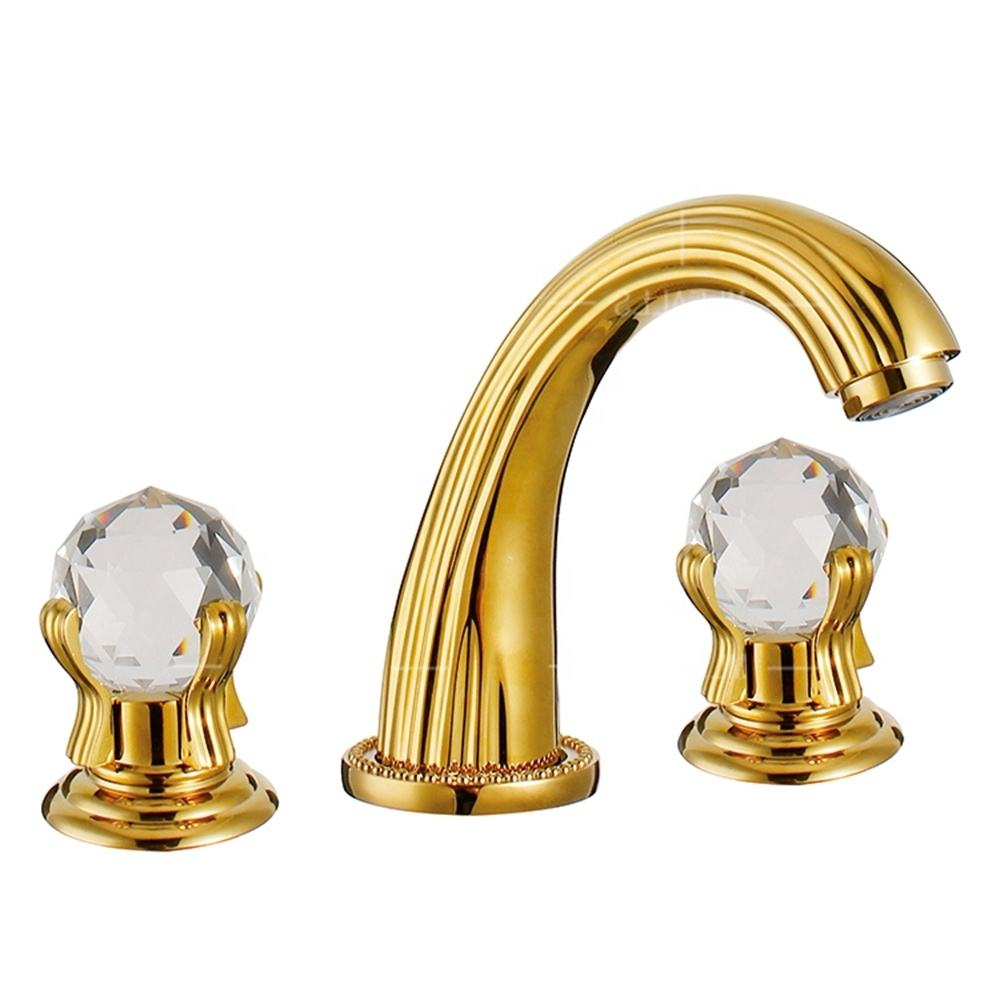 China supplier luxury gold 3 holes double crystal handle,Ti-PVD wash basin water tap