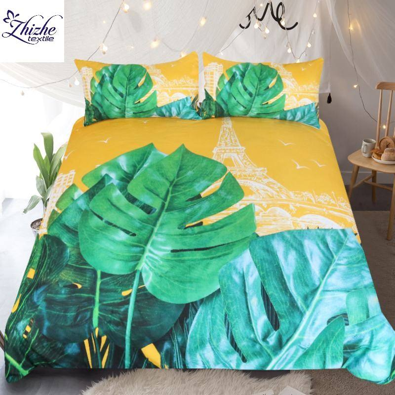 3D style green leaves printed polyester fabric bedding set ready to ship
