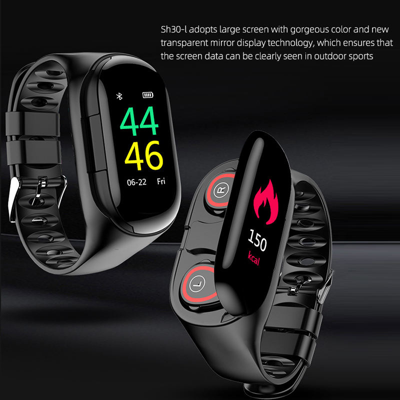 Volume Control [ Earphone ] 2020 Newest Design BT 5.0 Bluetooth Smart Wristbands Wireless Earphone 2 In 1 Portable Sports Watch Headphone With Charging Box