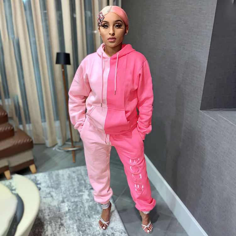 2020 Sporty Color Block Letter Hoodie Pink Fall Clothing Jogger Sweat Pants Tracksuits 2 pc Women Winter Two Piece Sweatsuit Set