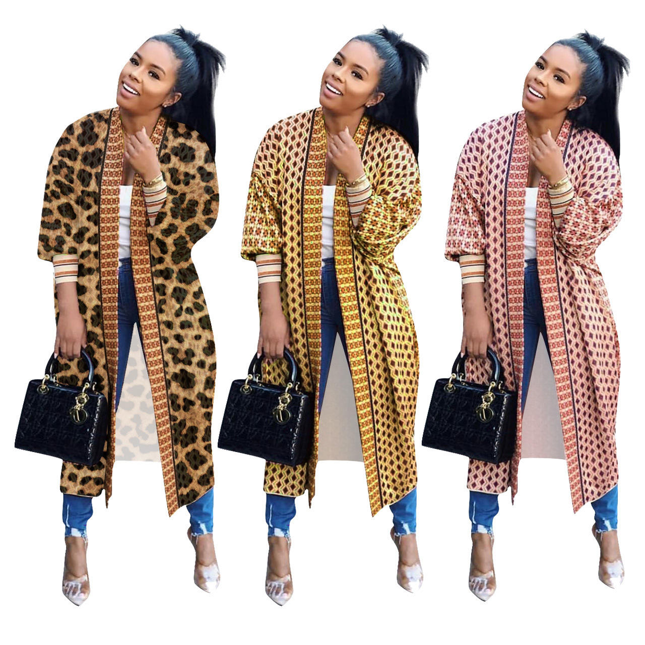 Latest Design Fall Clothes Sexy New Long Sleeve leopard Print Loose Casual Long Style Coat Cardigan for Woman