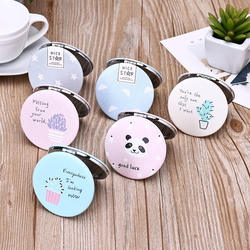 Wholesale Customized  PU Leather Pocket Mirror Portable Double-side Foldable Compact Personalized Round Makeup Mirror