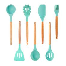 Amazon Hot Selling Green 7PCS Cooking Utensils Set With Natural Wood Handle For Nonstick Cookware Best Kitchen Tools Green