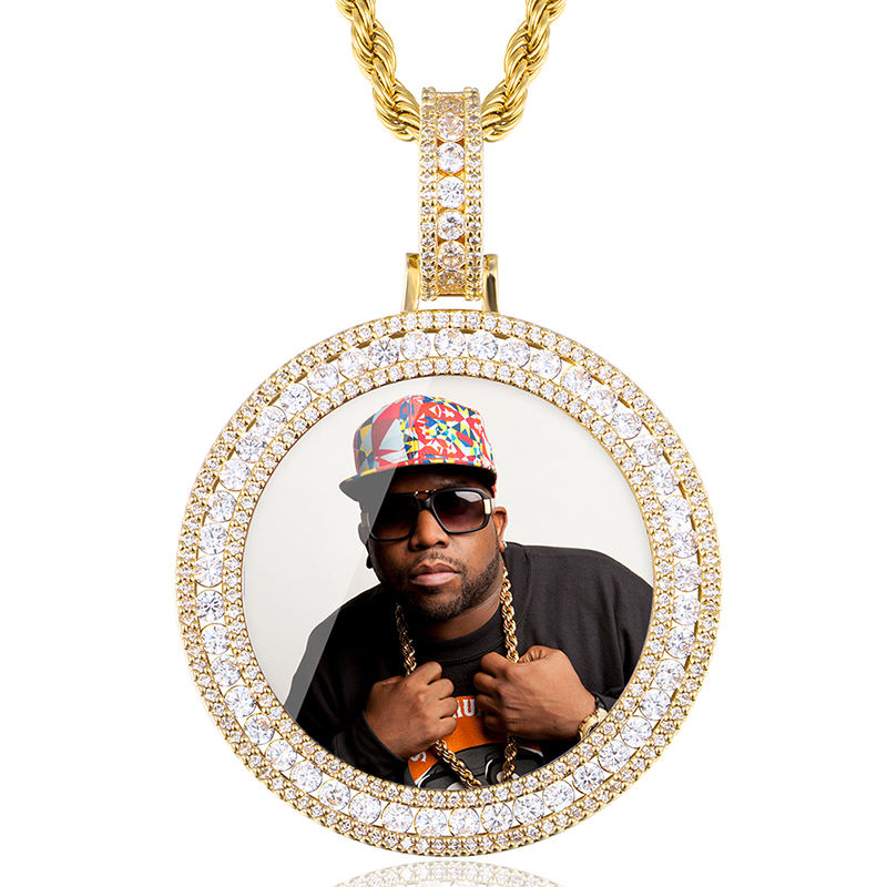 Custom Round Gold Iced Out Pendants Hip Hop Necklace Custom Photo Locket Picture Pendant Photo Pendant with Picture