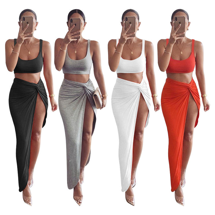 Two Piece Set Women Solid Short Crop Top Twist Side Split Long Skirts Matching Sets Sexy Party Club Wear 2 Piece Outfits