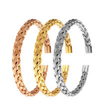 Fashion Jewelry Stainless Steel Knitted Twisted Metal Bangle Bracelet For Men