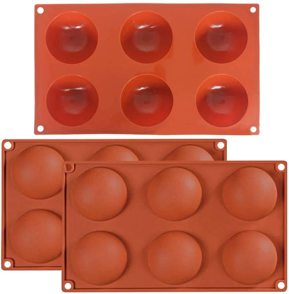 6 Holes Large Hemisphere Dome Silicone Mold 6 Cavities,Half Sphere Silicone Tray for Chocolate, Cake, Jelly Handmade Soap
