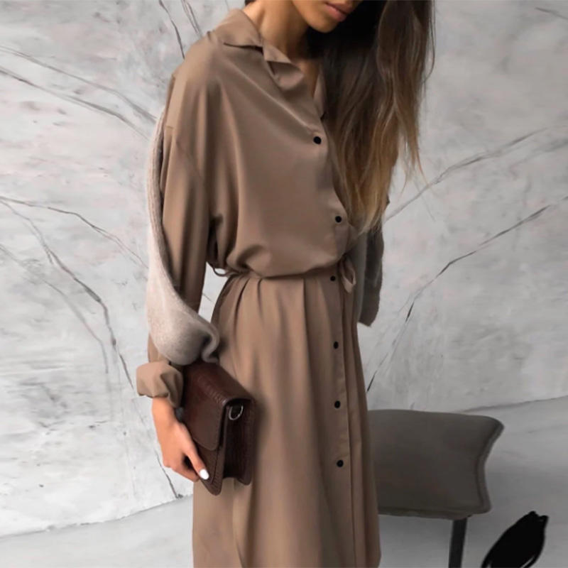 Wholesale Woman Dress High Quality Satin Smooth Casual Shirt Dress Long Sleeve Dress