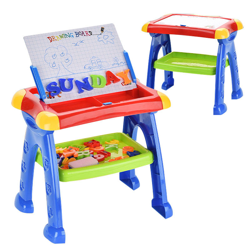 Educational Multifunctional Erasable Magic Drawing Board Learning Table Set Magnetic Folding Drawing Board Table For Children