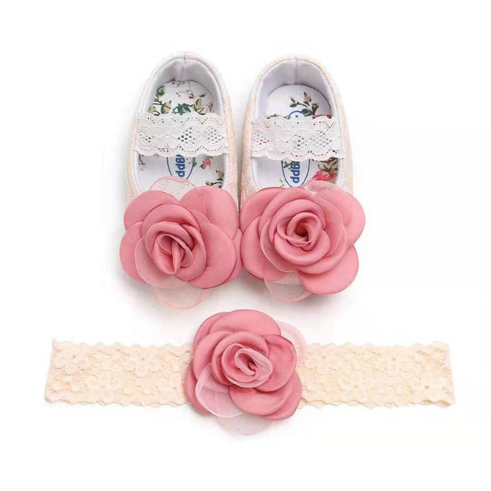 INS Fashion Lace Little Girl Princess Infant Baby Dress Shoes with headbands