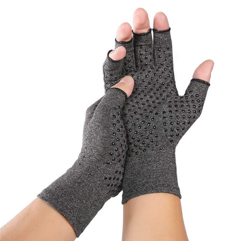 Rehabilitation Non Slip Athritis Pain Relief Medical Therapy Joint Support Fingerless Hand Warm Compression Gloves