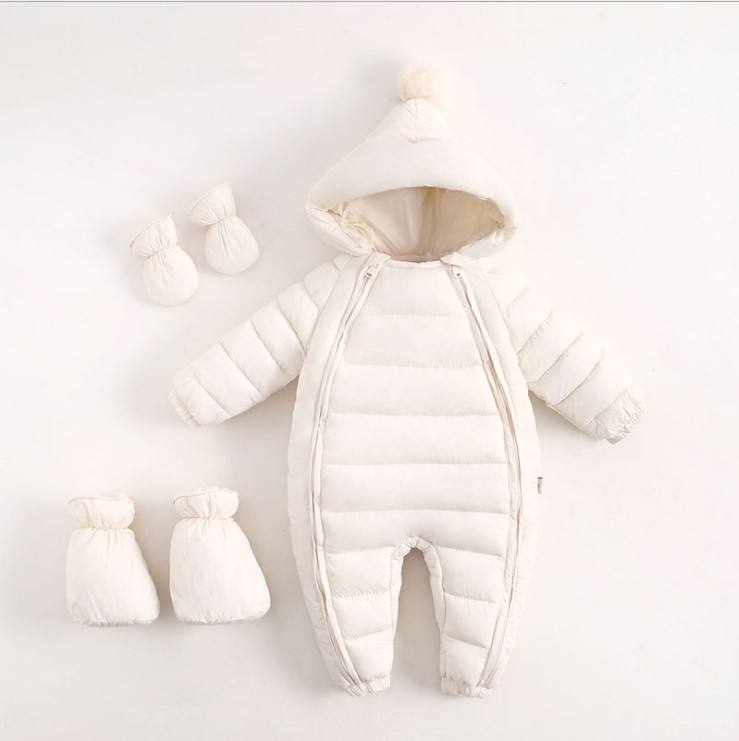 Newborn Baby Winter Down Filling Hooded Newborn Overall Clothes Jumpsuit Snowsuit Rompers