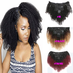 Factory Price double weft indian seamless virgin natural 4c ins remy afro kinky curly 100% human clip in hair extension