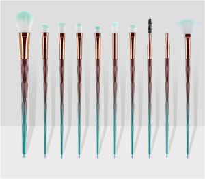 Amazon Hot Selling Rainbow Diamond Handle 10PCS Blending Eyeshadow Makeup Brushes Eye Cosmetic Makeup Brush Set