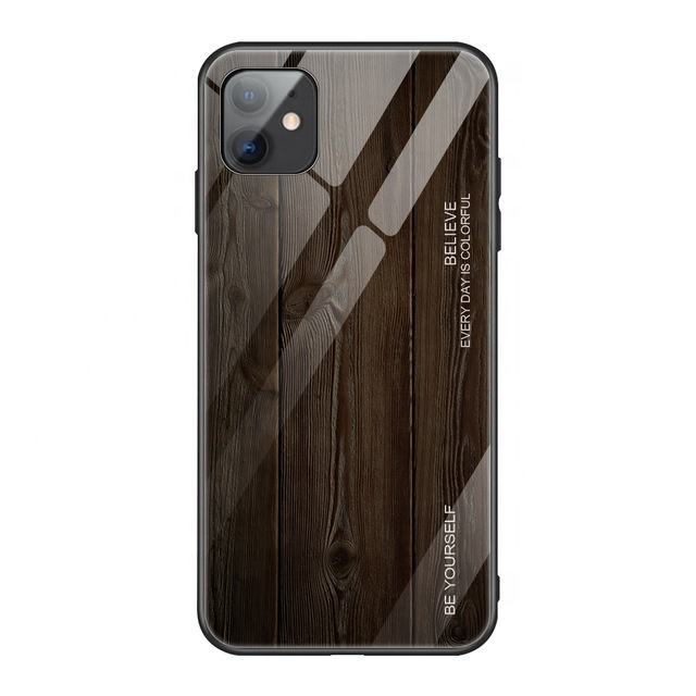 Wooden Tempered Glass Case For iPhone 11 PRO Max SE 2020 6 6S 7 8 Plus Shockproof TPU Case