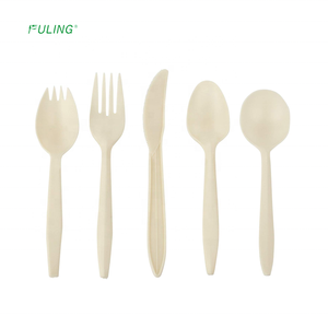 eco friendly disposable plastic utensils 100% compostable cornstarch forks spoons spork Knives Cutlery