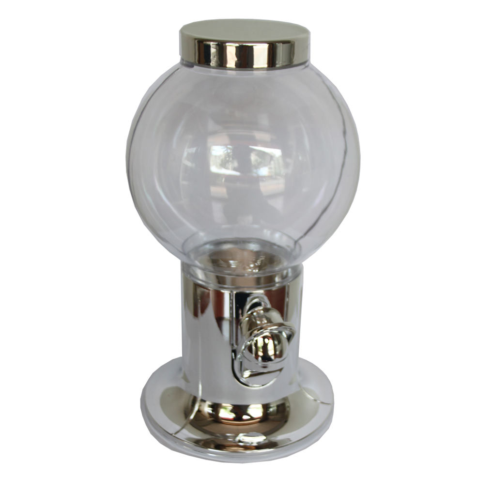 Shiny silver plated plastic gumball machine sweet dispenser on promotion as gift