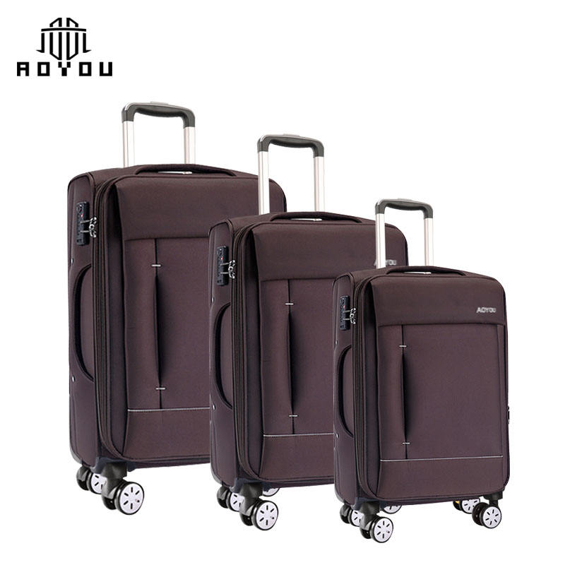 Factory wholesale 3pcs 20 24 28 inch soft suitcase cabin travel luggage trolley bag nylon luggage sets