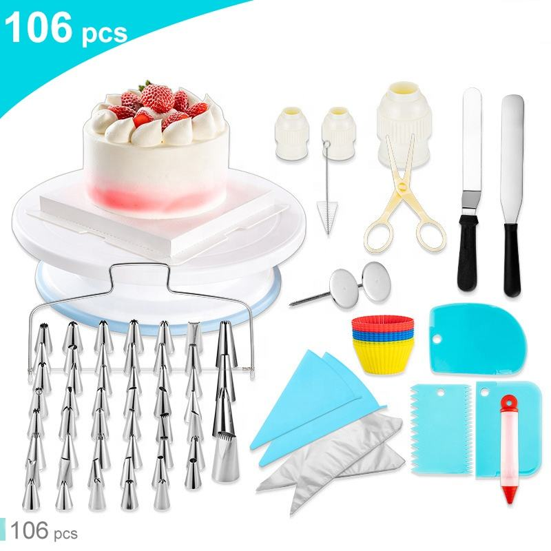 Amazon hot sell 106 pieces cake decorating kit cake tools