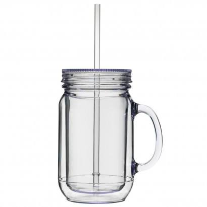 16oz Plastic mason jar with metal lid and straw 20oz Clear Glass Drink Cups with Metal cap