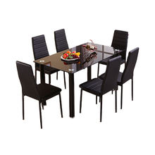 Best Choice Products Comedor Juegos de comedor 7 Pieces Kitchen have 6 Leather Chairs Black Dining room Set