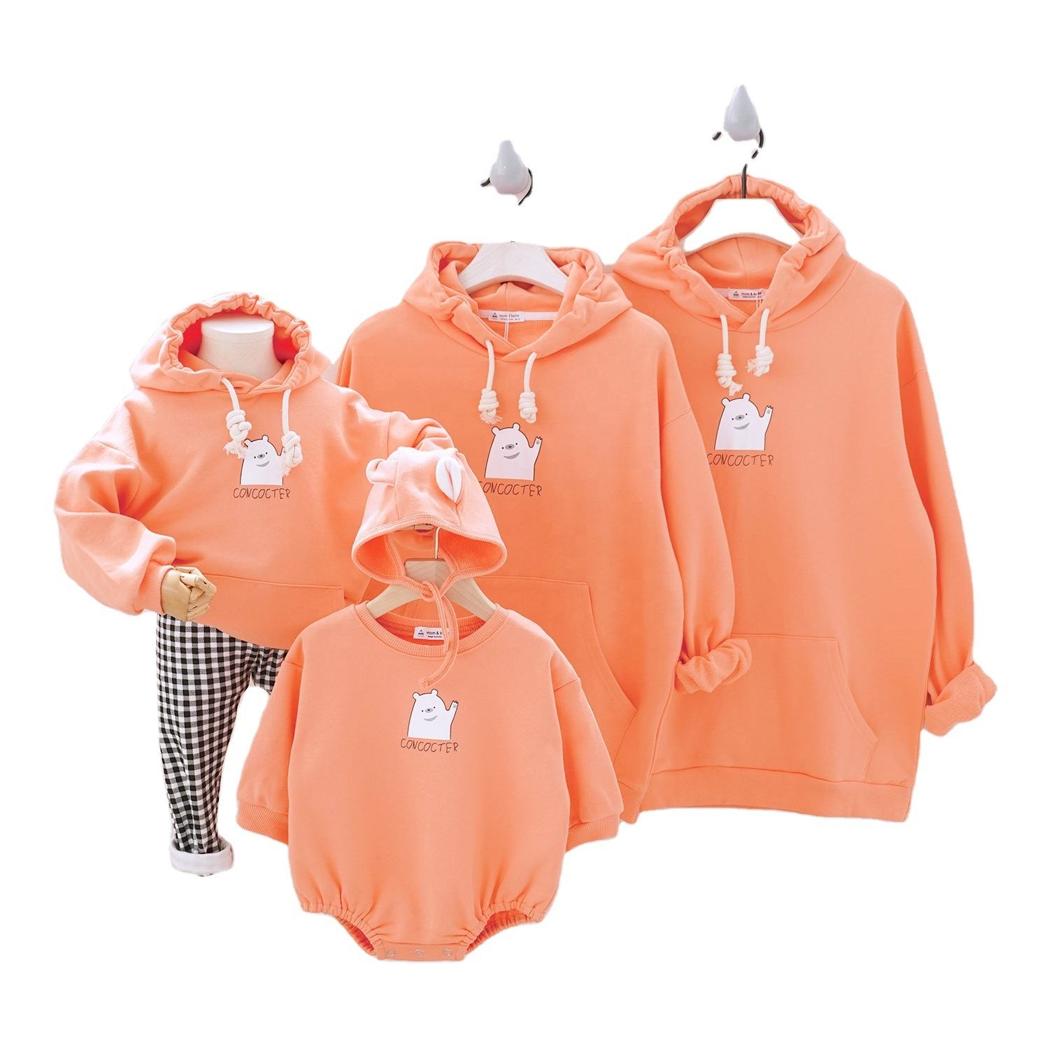 Sweat à capuche assortis pour parents et enfants, <span class=keywords><strong>tenues</strong></span> de famille, nouvelle collection 2018