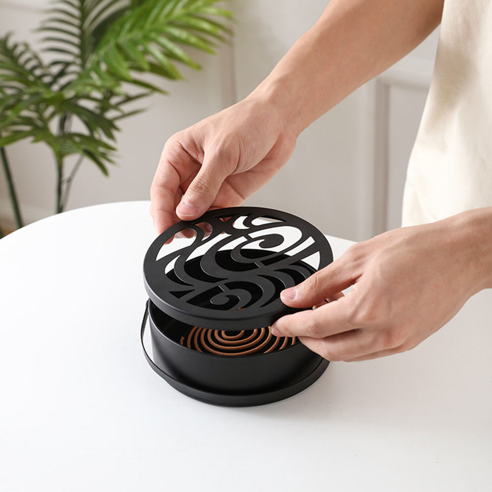 Round Incense Burner Wrought Iron Office Home Mosquito Coil Holder Portable With Handle Hollow Out Garden Fire Prevention