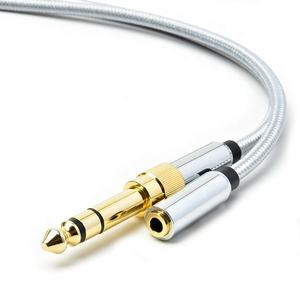 3.5mm TRS Stereo Audio Cable & 6.35mm 1/4 inch Plug to 3.5mm 1/8 inch Jack Gold Plated TRS AUX Adapter