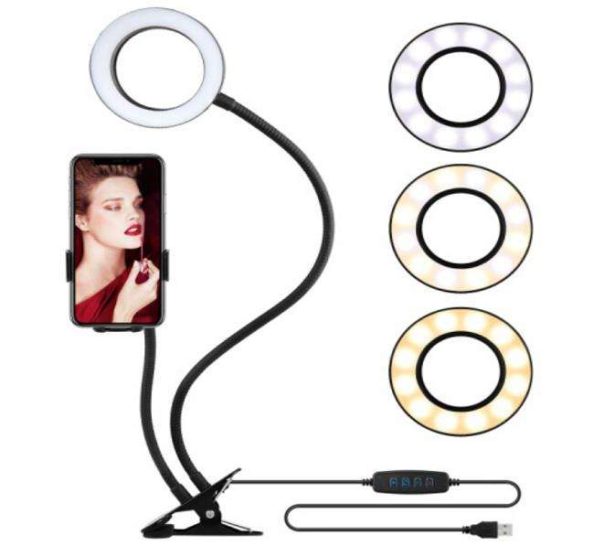 Black Make up YouTube Video Photography Social Media Influencer Live Stream Stand Cell Phone Holder Selfie Ring Light
